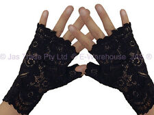 1 Pair of Party Punk Goth 80's 20s Wedding gloves Lace Fingerless Dance Cuffs