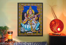hindu goddess saraswati sequin wall hanging zari tapestry batik ethnic decor art