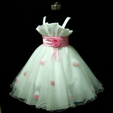 P818 Pinks White Princess Wedding Party Flower Girls Dress SIZE 2,3,4,5,6,7,8,9Y