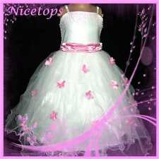 P408 Pinks White Princess Wedding Party Flower Grils Dress SIZE 2,3,4,5,6,7,8,9Y