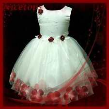 R476 Baby Reds White Princess Party Flowers Girls Dress SIZE 9-18 Mth 1,2,3,4,5Y