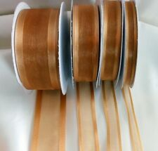 25 Yd Roll of  Gold Satin Edge Organza Ribbon 10mm, 15mm, 25mm and 38mm