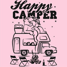 Ladies HAPPY CAMPER T-Shirt Funny Bear Camping Outdoors Tee - 5 Colors XS to 3XL