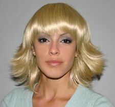 UMA 60'S 70'S DISCO FEVER DIVA WOMAN LADY BLONDE BROWN FLIP COSTUME WIG BANGS