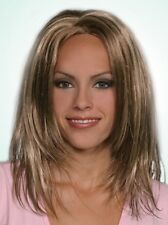 HEATHER BLONDE WOMAN LADY LONG STRAIGHT WET LOOK COSTUME WIG ZIG-ZAGGED CENTER