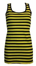 LADIES BUMBLE BEE STRIPE LONG VEST TOP SUMMER DRESS FANCY COSTUME HALLOWEEN