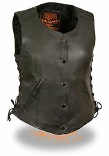 Womans Long Leather Classic Snap Front Side Lace Vest HD546 - Motorcycle Riders