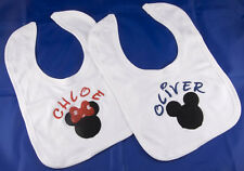 PERSONALISED NAME DISNEY MICKEY OR MINNIE BABY BIB NEW BOY GIRL MOUSE GIFT SET