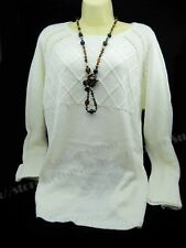 New Big Size Ladies Knitted Cardigan, Sweater, Jumper - Cream