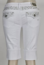 NEW Miss Chic Bermuda White Cuffed Cropped Pants Rhonestone Stud Pocket Flat