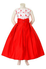 Pageant Wedding Recital Graduation Prom Formal Party Dress Red for Girl 8 10 12