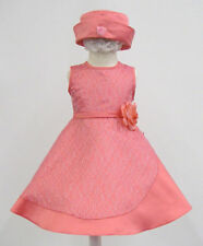 New Baby Girl & Toddler Pageant Wedding Formal Dress S M L XL Coral (1-3 yrs)
