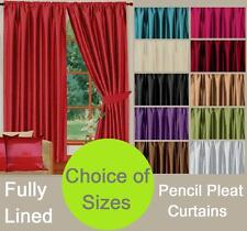 FAUX SILK LIVINGROOM BEDROOM PLAIN COLOUR TAPE TOP READYMADE LINED CURTAINS