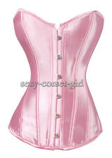 Romantic Pink Size S-6XL Corset Sweet-heart Satin Bustier Sexy  A074_pink