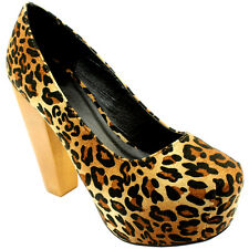 WOMENS WOOD BLOCK HEEL LEOPARD OFFICE WORK BUSINESS PARTY SHOES LADIES NEW 3-8