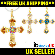 Cross Pendant with Free Snake Chain Mens Womens Sparkling Jewellery Lovely Gift
