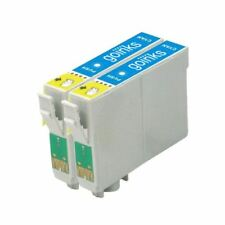 2 Cyan Ink Cartridges non-OEM to replace T0802 (TO802) Compatible for Printers