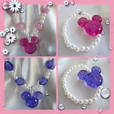 LITTLE GIRLS GORGEOUS PEARL CRYSTAL MINNIE MICKEY MOUSE NECKLACE BRACELET SETS