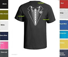 Funny T-Shirt Tuxedo Wedding Groom Tie Shirt Prom Tee Fake Tux Bachelor S - 5XL