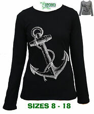 Anchor Hobo Ladies  Rockabilly Long sleeve T-shirt Top Cotton boating pirate new