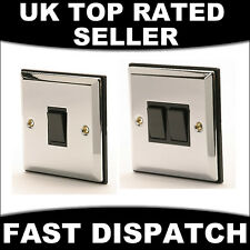 POLISHED MIRRORED CHROME & BLACK INSERT 1 AND 2 GANG 2 WAY SWITCH SWITCHES LIGHT