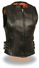 Ladies Long Length Leather Zipper Front Motorcycle Vest Triple Side Buckles