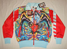 ED HARDY Christian Audigier RHINESTONE TRACK JACKET Teal Blue RED Panther Peace