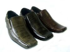 NEW MENS LEATHER DRESS SHOES LOAFERS SLIP ON COMFORT FREE SHOE HORN / 3 Colors