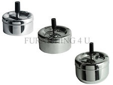 BRAND NEW CHROME ODOUR FREE SPINNING ASHTRAY WITH CIGARETTE REST IN 3 SIZES