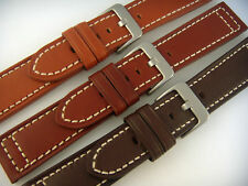 20mm 22mm 24mm Hadley Roma Genuine Leather Watch Band Strap,Black,Tan,Brown, Cht
