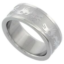 Unisex Stainless Steel 8mm Flat Wedding Band Ring, Tribal Designs, Sizes 7-14