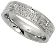 316L Stainless Steel 6mm Comfort Fit Wedding Band Ring, Greek Key, Sizes  6-14