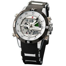 SHARK Men's LCD Digital Quartz Sport Military Army Rubber Watch+Upgrade Gift Box