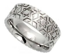 Unisex Stainless Steel 8mm Wedding Band Ring, Star of David Pattern, Sizes 6-14