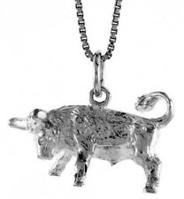 .925, Sterling Silver 14mm Tall  Zodiac Pendant for TAURUS *FREE SHIPPING*