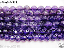 Grade AAA Natural Amethyst Gemstone Faceted Round Beads 16'' 2mm 4mm 6mm 8mm