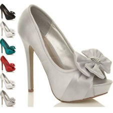 WOMENS LADIES WEDDING EVENING BRIDAL HIGH HEEL PLATFORM PROM COURT SHOES SIZE