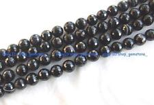 """4-16 Natural Onyx round faceted Gemstone Beads 15"""""""