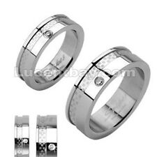 SPIKES Stainless Steel Double Layered Dexter CZ Wedding And Engagement Band Ring