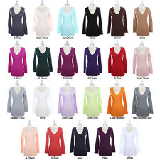 BASIC Solid Plain Cotton V NECK LONG SLEEVE TOP T Shirt Casual Tee S M L