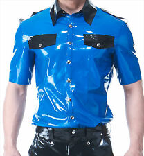 SQUEEZE.DOG Latex Gummi Rubber Police Polo Shirt Short Sleeve Blue