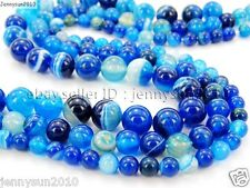Natural Blue Agate Gemstone Stripe Round Beads 15.5'' Strand 6mm 8mm 10mm 12mm