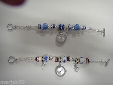 WATCH BRACELET SILVER TONE WITH BLUE OR MULTICOLOR BEADS ANALOG MODERN