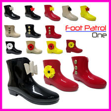 NEW WOMENS LADIES GIRLS BEACH  ANKLE WELLY SNOW WELLIES WELLINGTON BOOT SIZE 3-8
