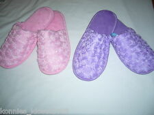 SATIN ROSE SLIPPERS - CHOOSE LIGHT PINK OR LAVENDER - US SIZES 7,8, 9, 10 (NEW)