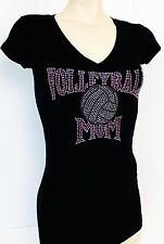 RHINESTONE VOLLEY BALL MOM PINK JUNIOR SHEER  V NECK S M L 1XL 2XL 3XL SHIRT NEW