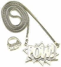 POW Set New Pendant Necklace 36 Inch Franco Style Chain With POW Solid Ring