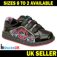 Squeeze Velcro Girls Trainers Children Kids Shoes Running Black / Pink 8 9 12 1