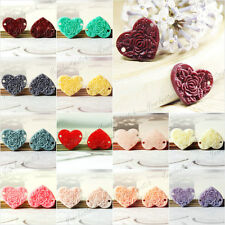 Wholesale 15x13mm Vintage Flatback Heart Peony Flower Cameo Resin Cabochons