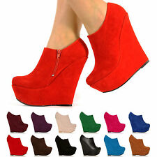 NEW PLATFORM HIGH HEEL WEDGE ANKLE SUEDE SHOE BOOTS SHOES SIZE 3-8 WEDGES HEELS